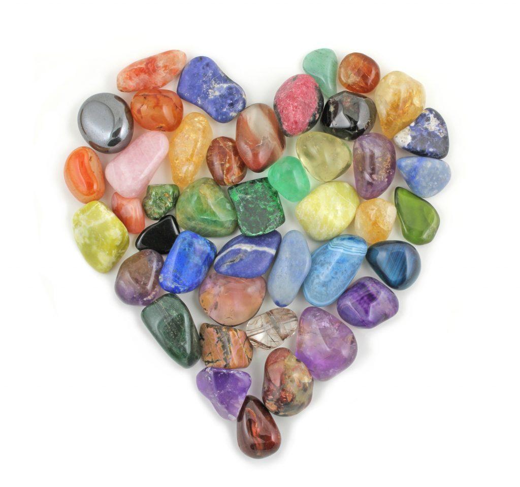 heart crystal grid healing stones