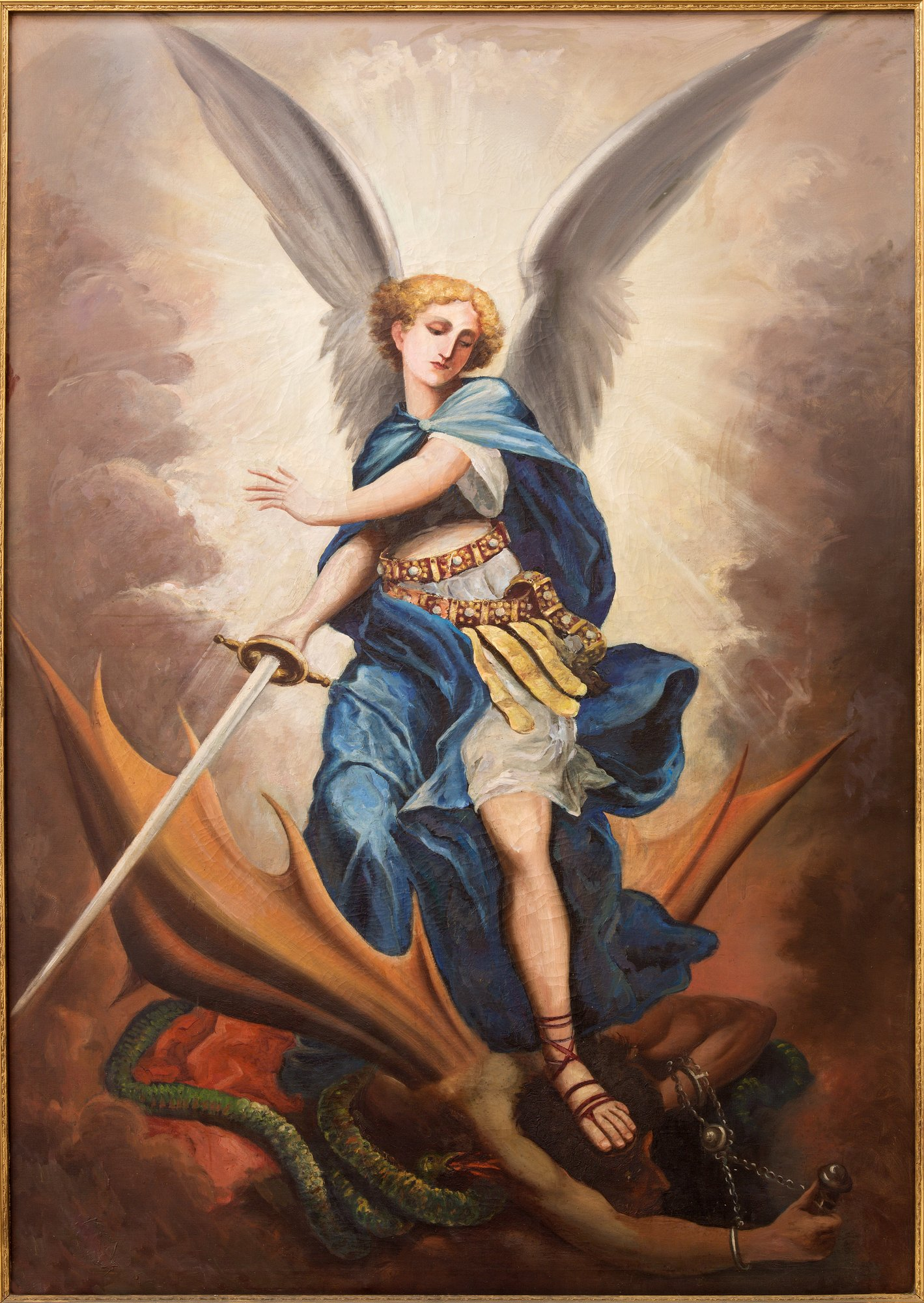 archangel michael fights with the great dragon
