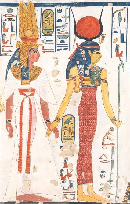 goddess isis and queen nefertari on papyrus