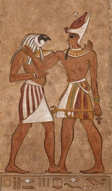 horus and osiris on wall