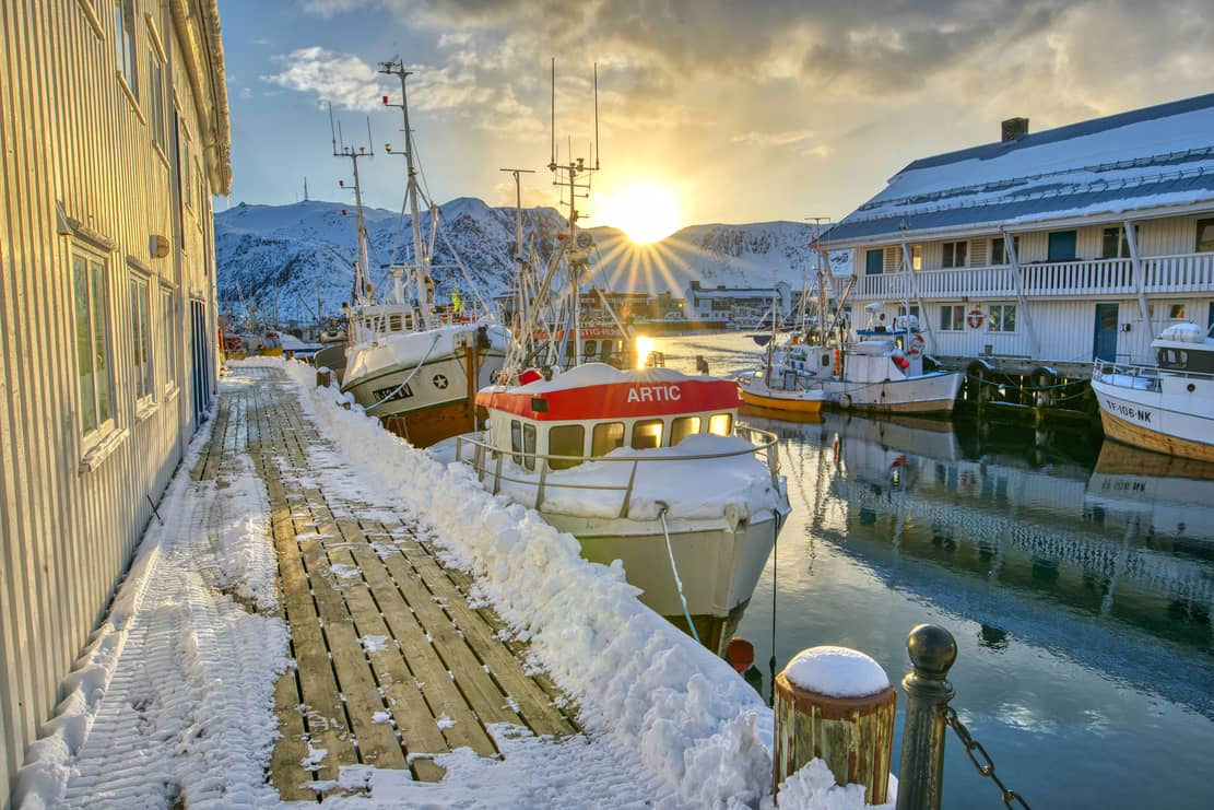 photo of the harbor in Norway, Honningsvåg.